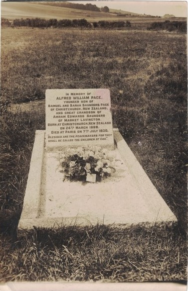 Fred Page's grave in the village of Lavington, in Wiltshire