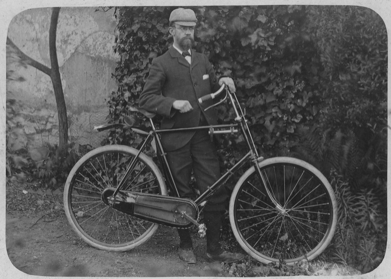 Charles Mackie with bicycle