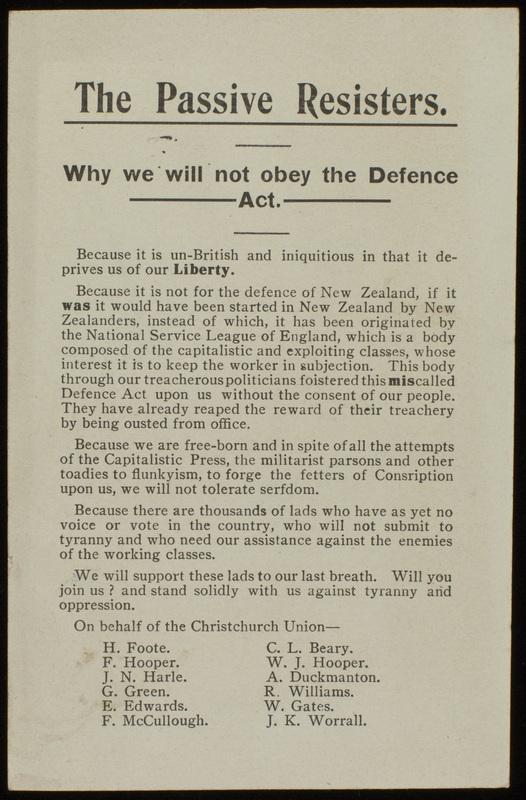 Passive Resisters' Union Pamphlet