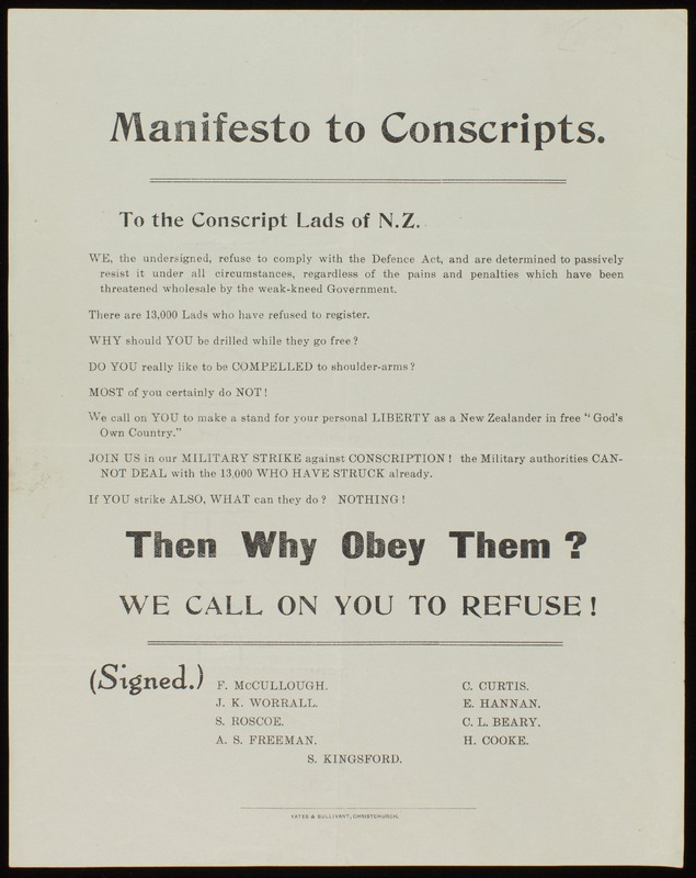 Manifesto to Conscripts