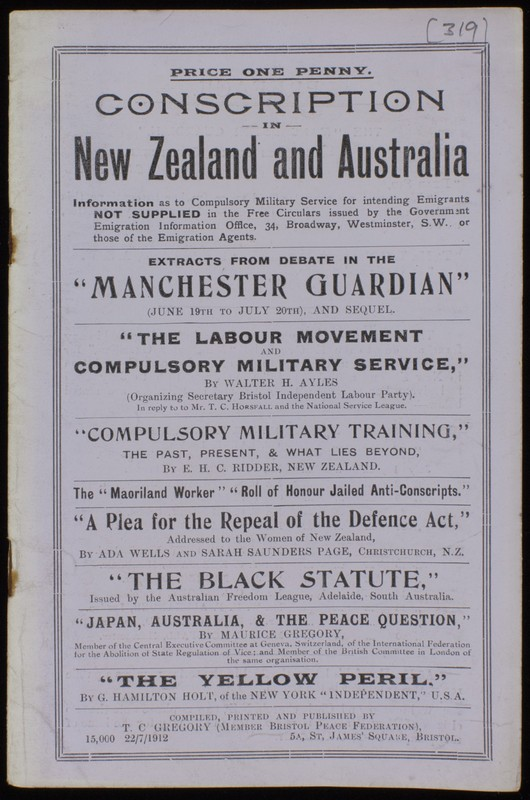 'Conscription in New Zealand and Australia' pamphlet