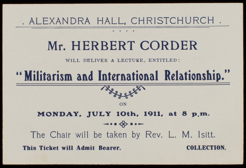 Mr Herbert Corder lecture ticket 1911