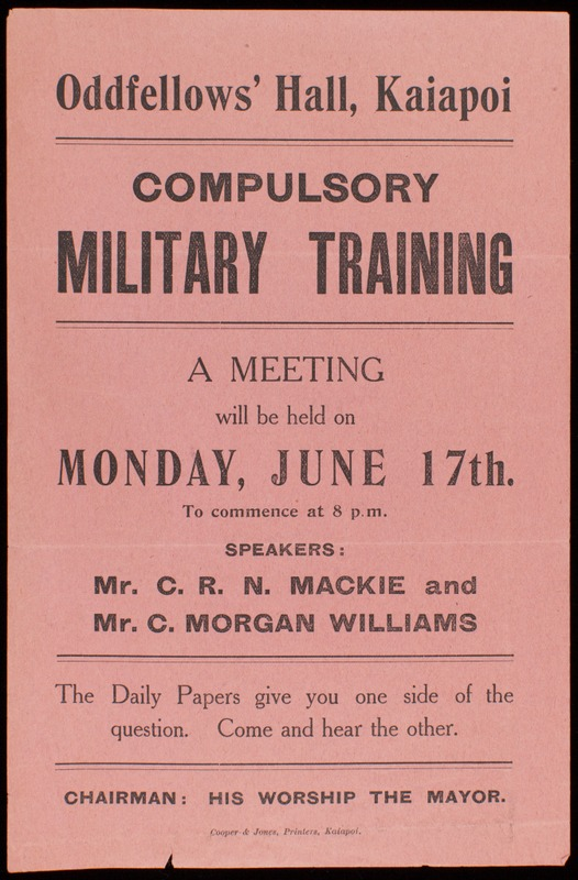 Flyer for Kaiapoi Public Meeting, June 1912